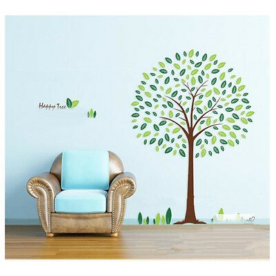 Lovely Big Green happy Tree DIY Removable Wall Stickers Room Home Decor Decals