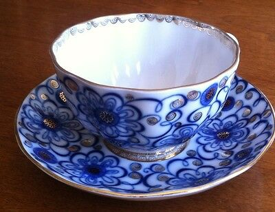 Agoz Tea / coffee Cup Made In USSR 2 1/2 Tall Cup- Saucer 6 Across Blue And Gold