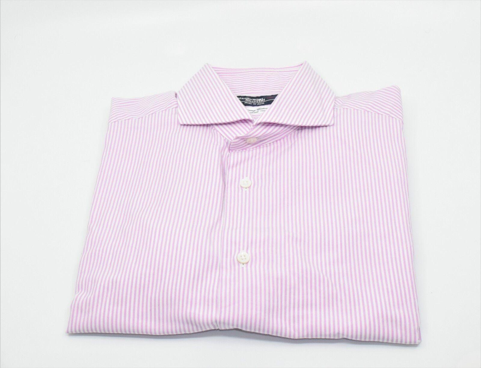 Kamakura Shirt Makers Men White purplec Striped Dress Shirt Size 16 100% Cotton