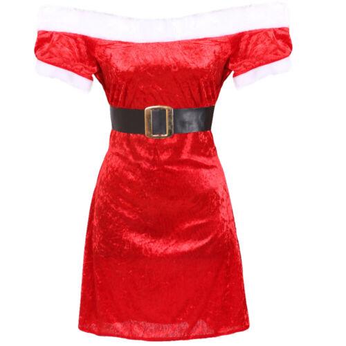 LADIES VELOUR MISS SANTA DRESS PLUSH HAT MRS CLAUS CHRISTMAS XMAS FANCY DRESS
