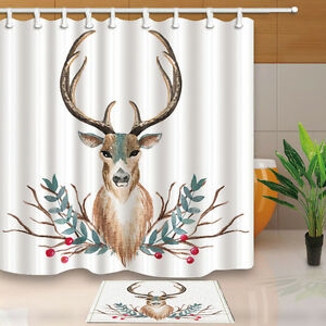 Image Is Loading Christmas Reindeer Bathroom Decor Shower Curtain Waterproof Fabric