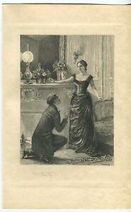 ANTIQUE BEAUTIFUL WOMAN BLACK DRESS MAN MARRIAGE PROPOSAL OIL LAMP FLOWERS PRINT