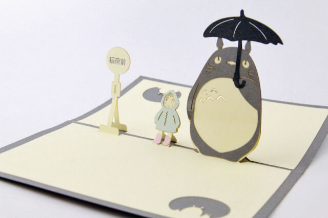 3d My Neighbour Totoro Greeting Birthday Cards Pop Up Gift Card For