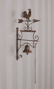 Radient Gartenglocke Shabby Chic Campana Gallo Campana De Pared Jardín Timbre Good Companions For Children As Well As Adults Other