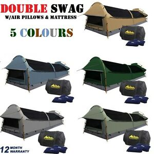 DOUBLE-Camping-Canvas-Swag-Deluxe-Tent-w-Air-Pillows-amp-Mattress-5-Colours