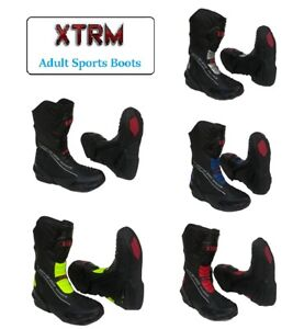 White XTRM Motorbike Racing Boots Core CE Approved Adult Motorcycle Sports Boots in Black Blue Green Red
