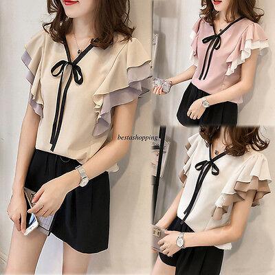 Summer Sweet Korean Women V neck Chiffon Lotus Sleeve Plus Tops T-shirt Blouse