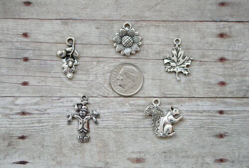 14pc or 5pc Fall Season Charm Set Lot Collection //Scarecrow,Sunflower,Leaf,Acorn