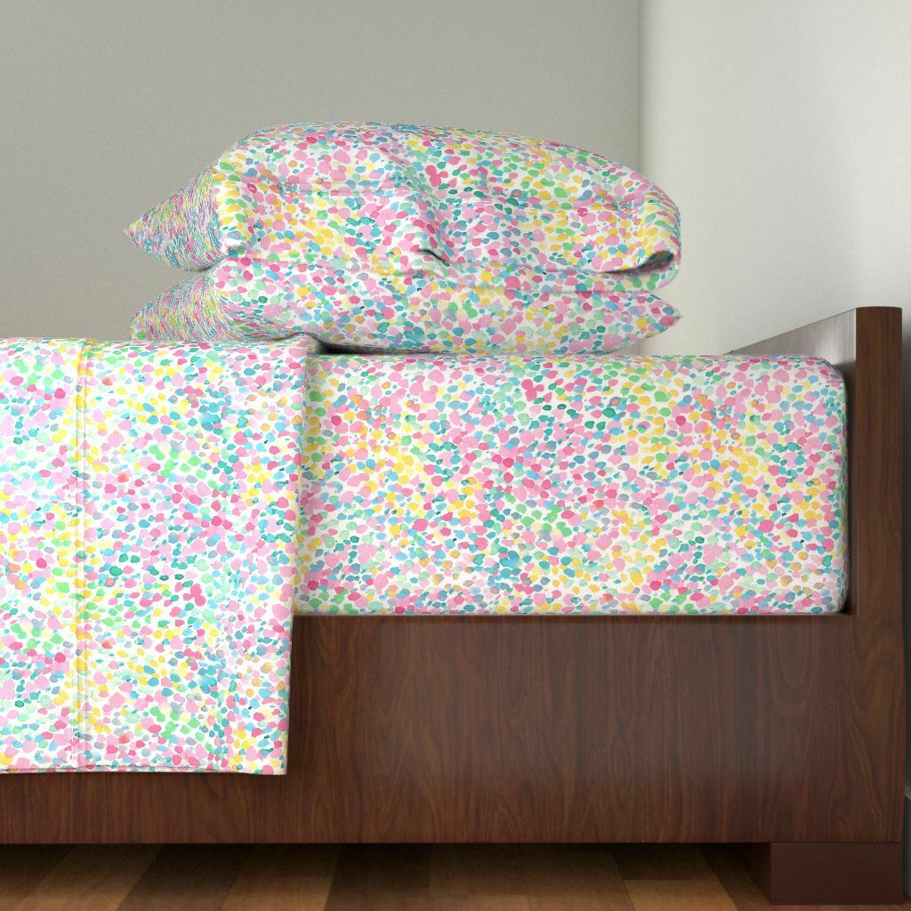 Abstract WaterFarbe Pastel Lighthearted 100% Cotton Sateen Sheet Set by Roostery