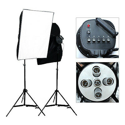 Pro Video 2875W Soft Box Continuous Lighting Softbox 4 Head Boom Arm Light Stand