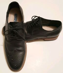 Florsheim-Black-leather-wing-tip-oxford-w-brown-outsoles-sz-9-5-D
