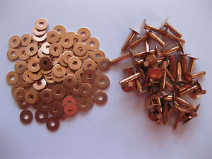 SOLID BRASS//COPPER 9mm HOSE SADDLERS RIVETS WITH SETTING TOOLS