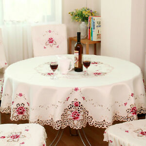 Embroidered-Floral-Fabric-Cutwork-Round-Tablecloth-White-Lace-Table-Cloth-Cover