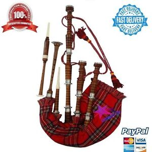 New-Scottish-Great-Highland-Bagpipe-Sheesham-Wood-Natural-Silver-Mounts-Bagpipes
