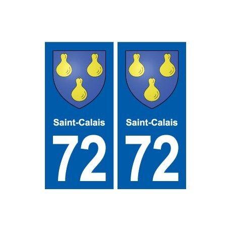 72 Saint-Calais blason autocollant plaque stickers ville arrondis
