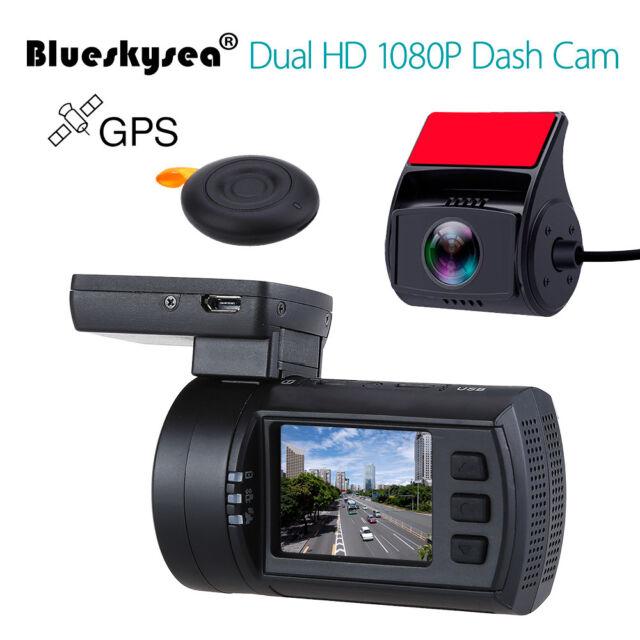 0906 1080P Dual Lens Car Dash Cam GPS Capacitor DVR Video Recorder Night Vision