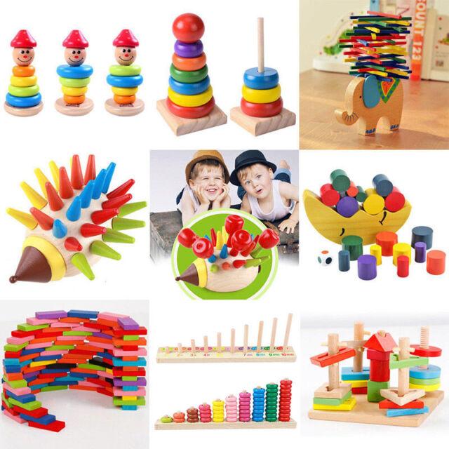 Baby Toddler Montessori Toys Wood Tetris Puzzle Stacking Blocks Kids Wooden Toys