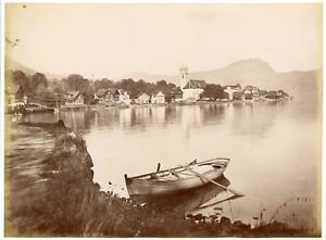 Suisse-ville-et-lac-a-identifier-Vintage-albumen-print-Tirage-albumine