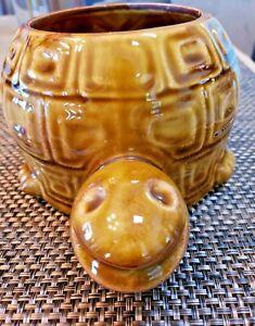 Vintage-McCoy-Turtle-Planter-740-USA-Pottery-8-5-034-L-x-6-034-W-Smiling-Face-Brown-MCM