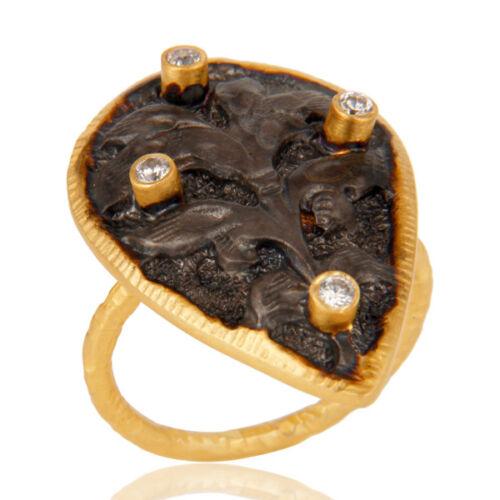 Handmade Rough Designer Brass Fashion Ring 18K Gold Plated Jewelry
