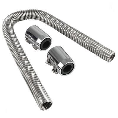 "36/"" Universal Chrome Stainless Steel Radiator Flex Coolant Water Hose Kit w//Caps"