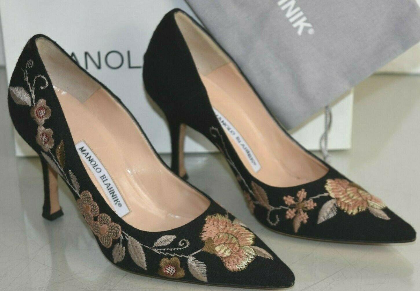 Nuovo Manolo Blahnik BB Pompe black Flanella Beige Ricamato Fiori shoes 36
