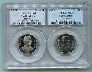 PCGS-Proof-Combo-PL-64-MS-64-South-Africa-Nelson-Mandela-R5-Year-2000-Coins