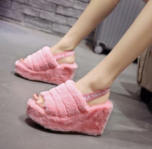 Womens Faux Fur Wedge High Heels Sandals Open Toe Platform Slippers Casual Shoes