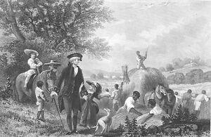 "George Washington At Mount Vernon Large 11/"" x 18.5/"" Real Canvas Fine Art Print"