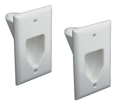 2 Lot - 1-Gang Recessed Low Voltage Video HDMI Audio Cable Wall Plate Pack White