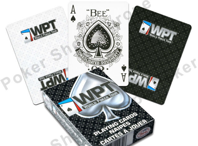 WPT WORLD POKER TOUR PLAYING CARDS POKER REGULAR INDEX WHITE BLACK SINGLE DECK