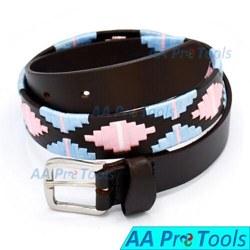 Genuine Leather Polo Men/'s Belt Sky Blue /& Pink Hand Woven Pattern 95 CM BLT-08