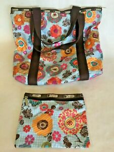 Le-Sport-Sac-Travel-Tote-Floral-Diaper-Bag-etc-with-small-zipper-bag-LeSportSac