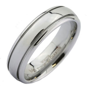 Classic-Grooved-White-Tungsten-Carbide-Polished-Wedding-Band-6mm-Ring