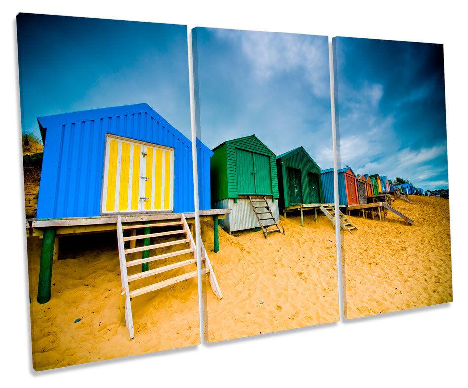 Beach Huts Seaside Scene TREBLE CANVAS WALL ART Box Framed Picture