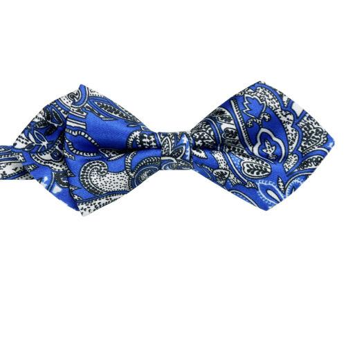 Brand New Blue N White Paisley Pre-tied SATIN Luxury Tuxedo Mens Bow Tie B1292