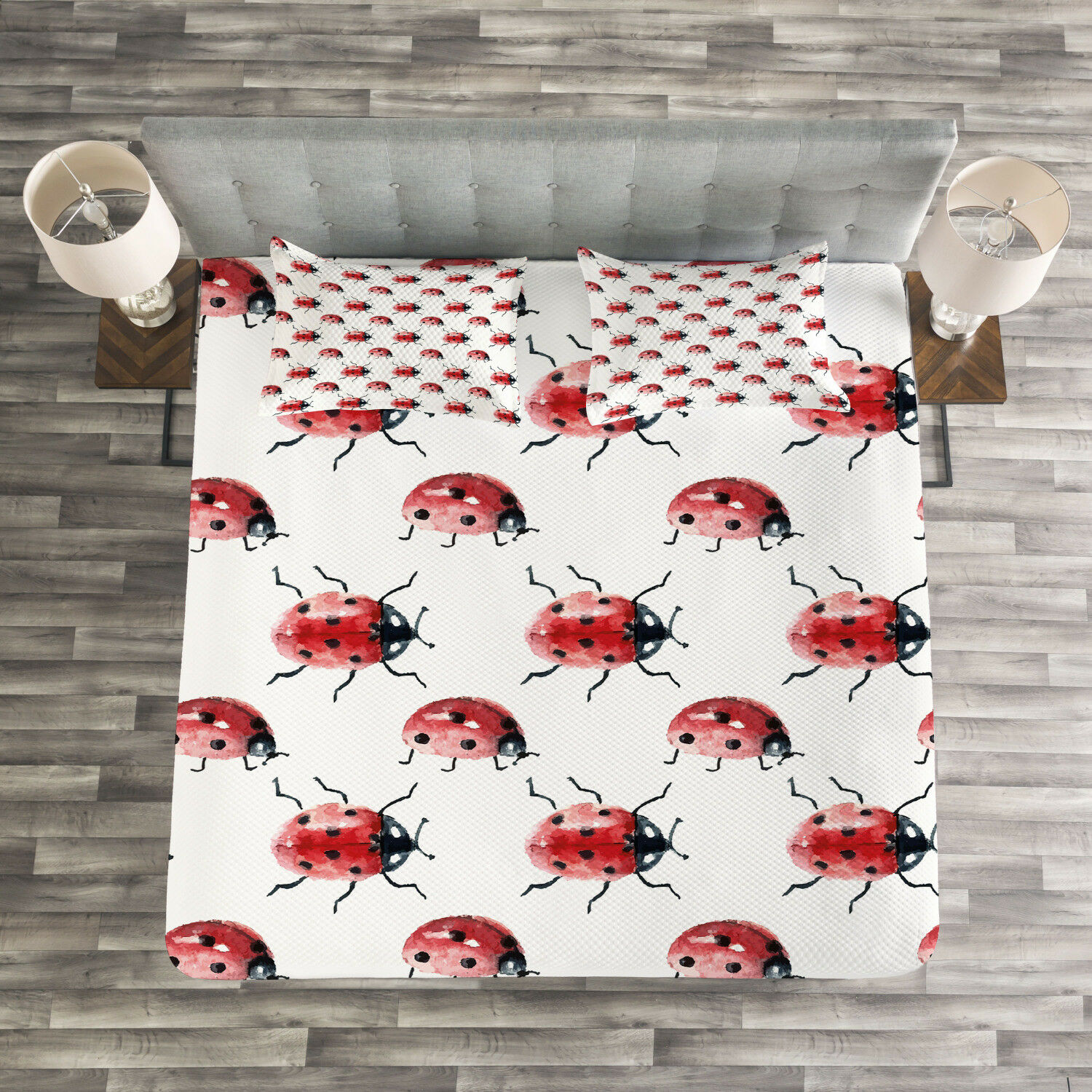 Watercolor Quilted Bedspread & Pillow Shams Set, Cute Lady Bug Insect Print