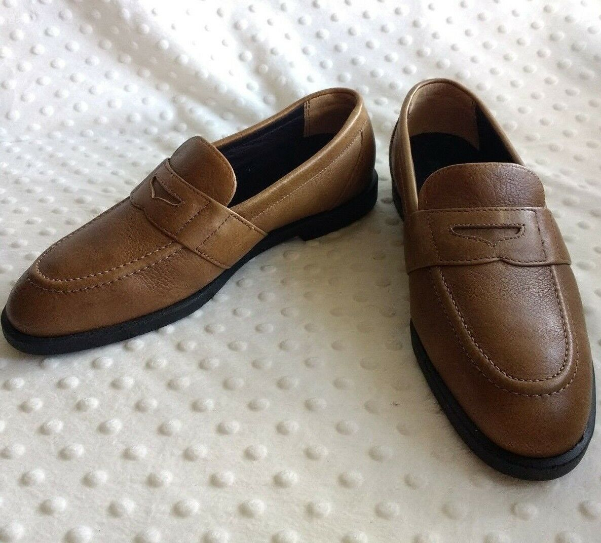 Hush Puppies Mens Professional Penny Loafer Sz 7.5 Tan Leather Professional Mens Dress Shoes 097998