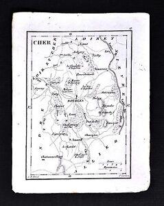 Sancerre France Map.1833 Perrot Tardieu Miniature Map Cher Bourges St Amand