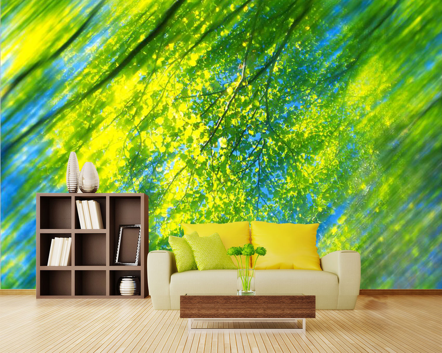 3D Green leaves 434 Wall Paper Print Wall Decal Deco Indoor Wall Murals