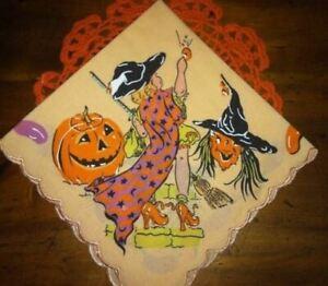 Child-039-s-HALLOWEEN-Handkerchief-Darling-Vintage-Graphics-Witch-Pumpkin-Retro