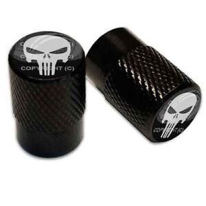 2-Black-Aluminum-Knurled-Motorcycle-Valve-Caps-GREY-PUNISHER-SKULL-TT059
