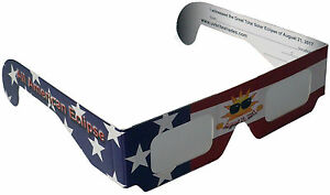 Solar Eclipse Glasses 40 Pack USA 2017 ISO Approved (American FLAG) Mirror Lens