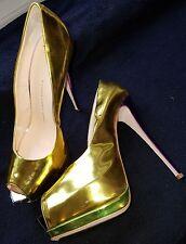 LADIES GIUSEPPE ZANOTTI.GOLD PURPLE GREEN.WEDGE STILETTO . SIZE 41/UK 8 - NEW