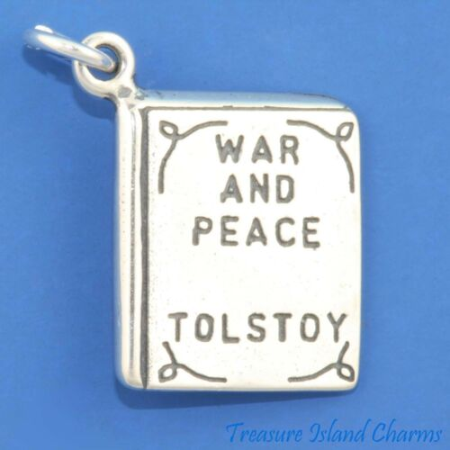 War And Peace By Leo Tolstoy Book Novel 3D 925 Solid Sterling Silver Charm