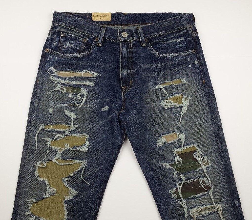 Denim & Supply Ralph Lauren Women Camo Distressed Repaired Destructed Jeans