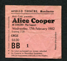 1982 Alice Cooper concert ticket stub Apollo Theatre Manchester Special Forces