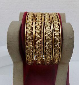 SOUTH-INDIAN-JEWELRY-SET-GOLD-PLATED-BRIDAL-BANGLES-BRACELETS-4-PCS-2-6