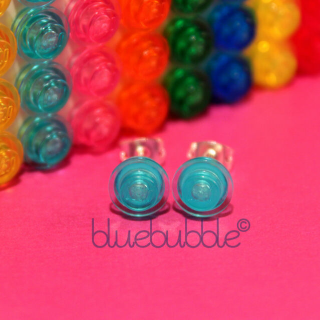 FUNKY LEGO EARRINGS FUN COOL KITSCH INDIE COLOURS ROUND PLATE BRICK EMO GIRLS