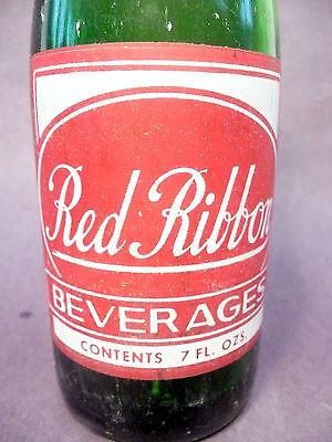 7 OZ ACL POP BOTTLE green RED RIBBON of NATRONA PA vintage SODA BOTTLE